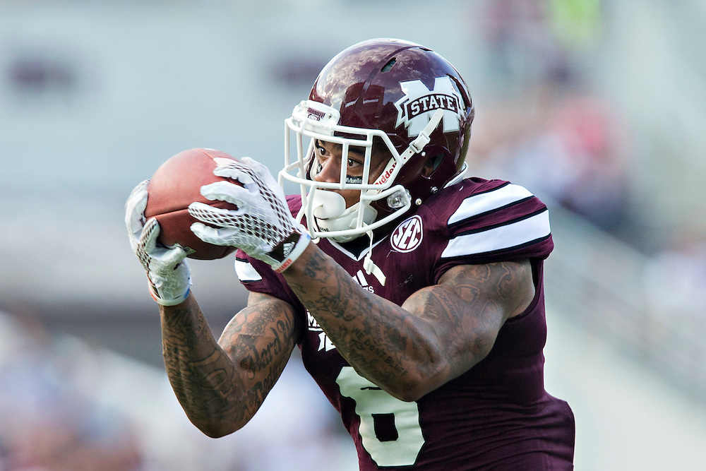 STARKVILLE, MS - SEPTEMBER 19:  Donald Gray #6 of the Mississippi State Bulldogs catches a pass against the Northwestern State Demons at Davis Wade Stadium on September 19, 2015 in Starkville, Mississippi.  The Bulldogs defeated the Demons 62-13.  (Photo by Wesley Hitt/Getty Images) *** Local Caption *** Donald Gray