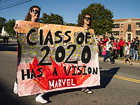 Sophomore Class with a vision of Marvel villains march in the LHS Homecoming parade Friday afternoon.  (Karen Bobotas/for the Laconia Daily Sun)