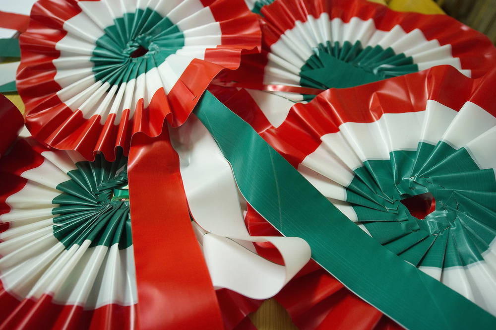 VENICE, ITALY - MARCH 16:  Rosettes in the colors of the Italian national flag are seen ahead of the celebrations for the 150th anniversary of Italy's unification on March 16, 2011 in Venice, Italy. March 17th has been declared National Festivity and events to celebrate the 150th anniversary will run in several Italian cities until the end of the year.