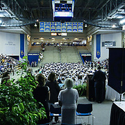 Principal Dr. Clifton Hayes, RIGHT, addresses students and audience members during Delcastle Forty-Sixth commencement exercises Tuesday, May 26, 2015, at The Bob Carpenter Sports Convocation Center in Newark, Delaware