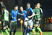 GOAL Ryan Delaney celebrates scoring for Rochdale 1-1  during the EFL Sky Bet League 1 match between Rochdale and Plymouth Argyle at Spotland, Rochdale, England on 24 April 2018. Picture by Daniel Youngs.