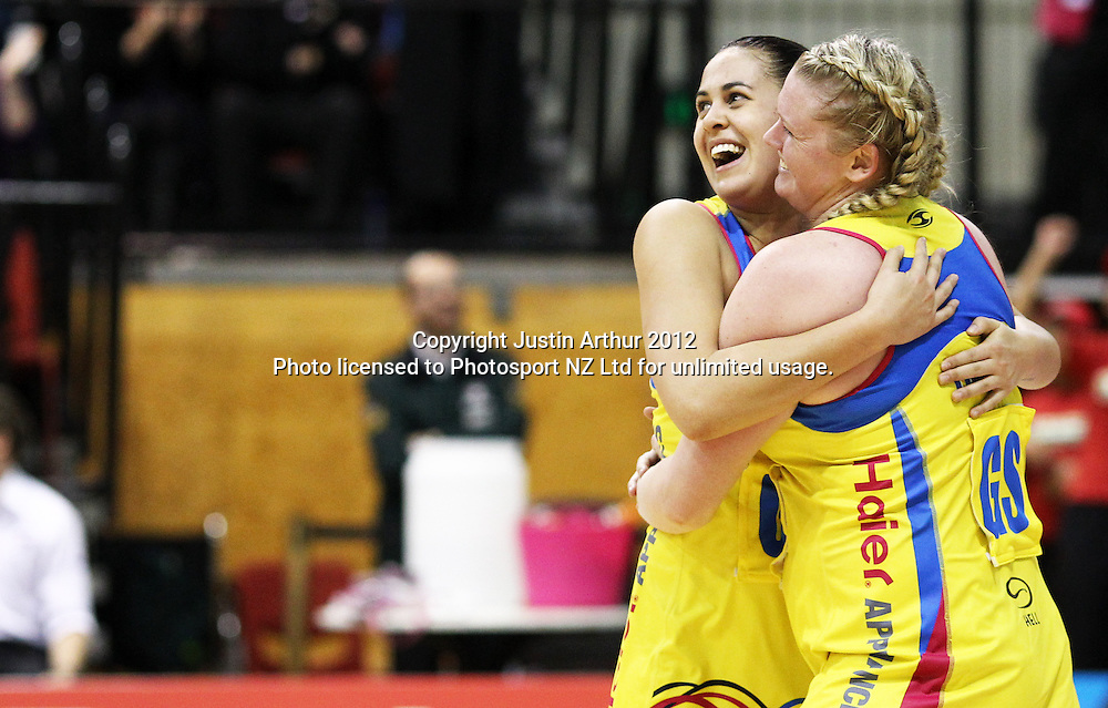 Pulse's Paula Griffin and Pulse's Caitlin Thwaites celebrate the win during the ANZ Netball Championship, Haier Pulse v Adelaide Thunderbirds at TSB Bank Arena, Wellington, New Zealand on Monday 21 May 2012. Photo: Justin Arthur / photosport.co.nz