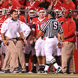 Sep 19, 2009; Piscataway, NJ, USA; Rutgers head coach Greg Schiano yells at a referee after an uncalled penalty during the second half of Rutgers' 23-15 victory over Florida International at Rutgers Stadium.