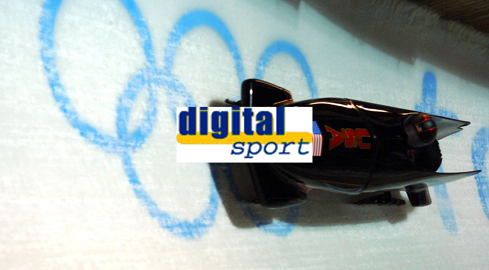 Photo: Catrine Gapper.<br />Winter Olympics, Turin 2006. Womens Bobsleigh. 21/02/2006. <br />USA team finish in second place winning Silver medal.