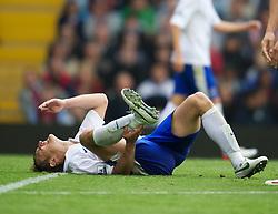 BIRMINGHAM, ENGLAND - Saturday, August 25, 2012: Everton's Nikica Jelavic lies injured during the Premiership match against Aston Villa at Villa Park. (Pic by David Rawcliffe/Propaganda)