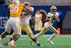 Georgia Tech Yellow Jackets quarterback TaQuon Marshall (16) during the Chick-fil-A Kickoff NCAA football game on Monday, September 4, 2017, in Atlanta. (Jason Parkhurst via Abell Images for Chick-fil-A Kickoff Game)