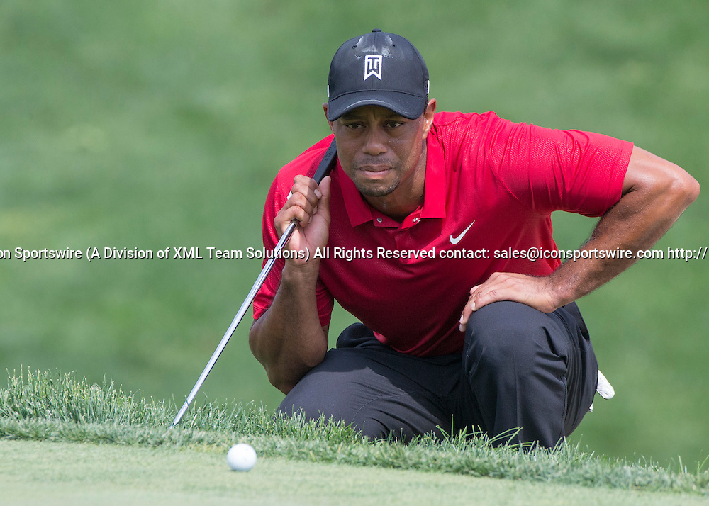 June 07 2015: Tiger Woods looking at his putt in the 18th green during the final round of the Memorial Tournament held at the Muirfield Village Golf Club in Dublin, Ohio.