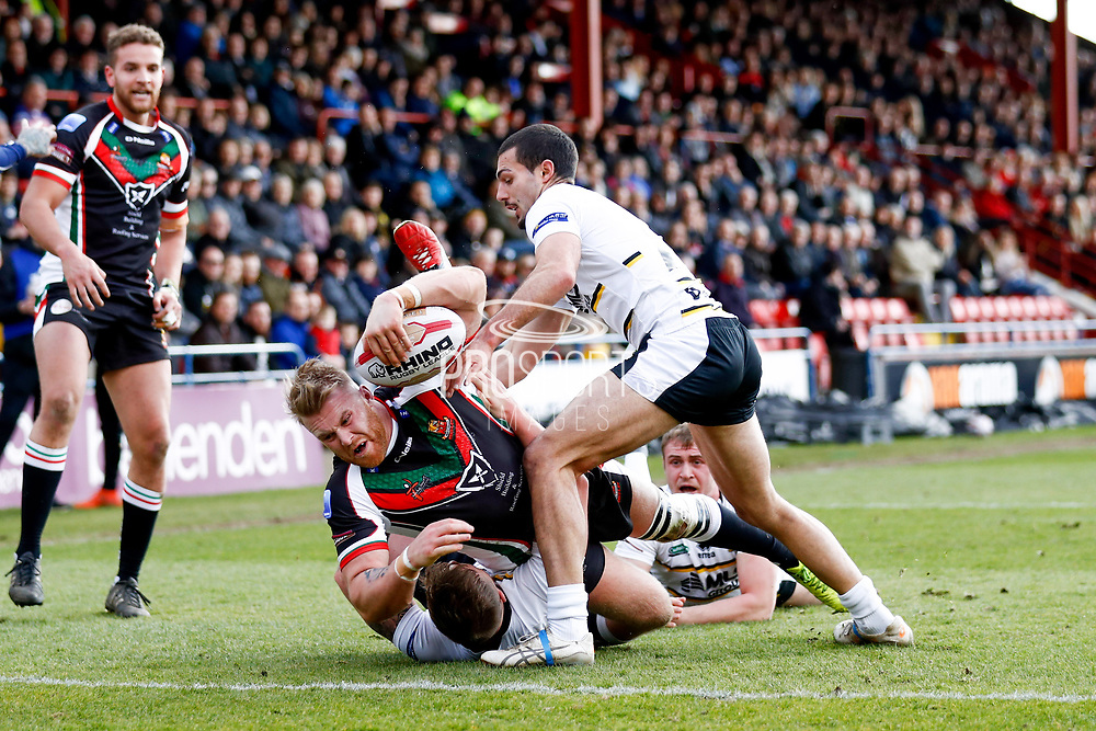 Keighley Cougars second row Perry Whiteley (26) scores a try  during the Betfred League 1 match between York City Knights and Keighley Cougars at Bootham Crescent, York, England on 25 March 2018. Picture by Simon Davies.