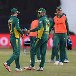 AB de Villiers (capt) of the (South African Proteas) with Faf du Plessis of the (South African Proteas) during the 2nd ODI Momentum One-Day International (ODI) series South African and Sri Lanka at Kingsmead, Durban, South Africa.1st February 2017 - (Photo by Steve Haag)