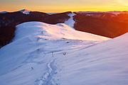 Winter time on the mountain ridge at surise