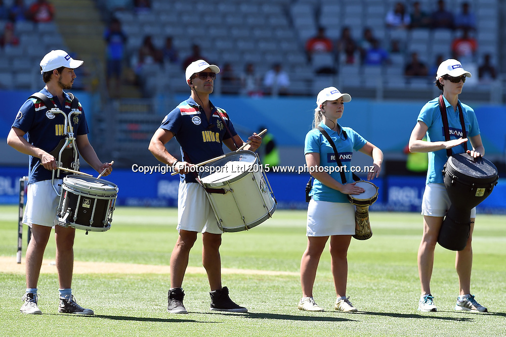 Reliance drummers performing before the start of play during the ICC Cricket World Cup match between India and Zimbabwe at Eden Park in Auckland, New Zealand. Saturday 14 March 2015. Copyright Photo: Raghavan Venugopal / www.photosport.co.nz