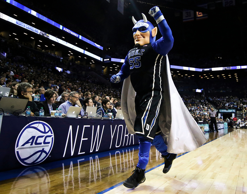 Blue Devil runs off the court during the semifinals of the 2017 New York Life ACC Tournament at the Barclays Center in Brooklyn, N.Y., Friday, March 10, 2017. (Photo by David Welker, theACC.com)