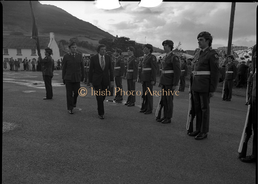 "The Carlingford Oyster Festival.1982.19.08.1982..08.19.1982.19th August 1982..Pictures and Images of the Carlingford Oyster Festival...The Minister For Fisheries and Forestry Mr Brendan Daly officially opened  The Carlingford Oyster Festival. The Chairman of the organising committee was Mr. Joe McKevitt..""The Oyster Pearl"" was Ms Deirdre McGrath..""A"" company,8th Batt.,Dundalk F.C.A.form a guard of honour..The Minister Inspects the troops accompanied by Lieut. Oliver Nixon"