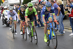 July 2, 2017 - Liege, Belgique - LIEGE, BELGIUM - JULY 2 : OFFREDO Yoanne (FRA) Rider of Wanty - Groupe Gobert, PHINNEY Taylor (USA) Rider of Cannondale - Drapac team, BOUDAT THOMAS (FRA) Rider of Direct Energie and PICHON Laurent (FRA) Rider of Fortuneo - Vital Concept are the escape pack during stage 2 of the 104th edition of the 2017 Tour de France cycling race, a  stage of 203 kms between Dusseldorf and Liege on July 02, 2017 in Liege, Belgium, 2/07/2017 (Credit Image: © Panoramic via ZUMA Press)