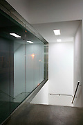Whitecube gallery, interior, stairs, night, dark, whitegoods lighting, windows