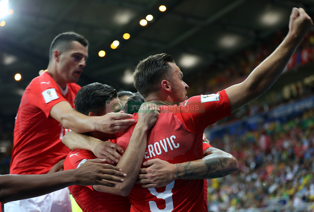 ROSTOV-ON-DON, June 17, 2018  Players of Switzerland celebrate scoring during a group E match between Brazil and Switzerland at the 2018 FIFA World Cup in Rostov-on-Don, Russia, June 17, 2018. (Credit Image: © Lu Jinbo/Xinhua via ZUMA Wire)