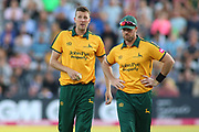 Jake Ball of Nottinghamshire Outlaws and Dan Christian of Nottinghamshire Outlaws in discussions during the Vitality T20 Blast North Group match between Nottinghamshire County Cricket Club and Worcestershire County Cricket Club at Trent Bridge, West Bridgford, United Kingdon on 18 July 2019.