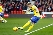 Leeds United midfielder Ezgjan Alioski (10) in action  during the EFL Sky Bet Championship match between Nottingham Forest and Leeds United at the City Ground, Nottingham, England on 1 January 2019.
