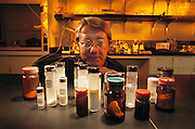 USA_SCI_PHAR_01_xs .Pherin Pharmaceutical in Mountain View, California. Dr. C Jennings-White, Vice-President. Chemical research in lab with test compounds. MODEL RELEASED (2002).Pherin Pharmaceutical produces a family of pharmaceutical compounds called vomeropherins. These compounds are delivered to the vomeronasal organ (VNO) that in turn affects the hypothalamus and the limbic system. The human VNO is linked to the hypothalamus and limbic areas, which enables Pherin to develop therapeutic drugs targeted against a variety of medical conditions associated with these brain regions such as mood disorders, neuro-endocrine function, body weight management, body temperature, sexual motivation, water and salt balance, blood pressure, and sugar and fat metabolism. .The vomeronasal organ (VNO) or Jacobson's organ is an auxiliary olfactory sense organ in some tetrapods. In adults, it is located in the vomer bone, between the nose and the mouth. Anatomical studies demonstrate that in humans the vomeronasal organ regresses during fetal development, as is the case with some other mammals, including other apes, cetaceans, and some bats. There is no evidence of a neural connection between the organ and the brain in adult humans. Nevertheless, a small pit can be found in the nasal septum of some people, and some researchers have argued that this pit represents a functional vomeronasal organ. Thus, its possible presence in humans remains controversial.