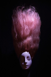 © Licensed to London News Pictures. 01/11/2016. London, UK. A wig worn by Stella Tennant is displayed at the 'Hair by Sam McKnight' exhibition at Somerset House. The show, which runs from 2nd November, 2016 to 12th March, 2017, celebrates the career of fashion's favourite hair stylist. Photo credit: Peter Macdiarmid/LNP