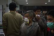 11/5/2010 Yogyakarta, Indonesia: family from  the victim of merapi eruption waiting outside the emergency room at Sardjito Hospital, Yogyakarta indonesia.