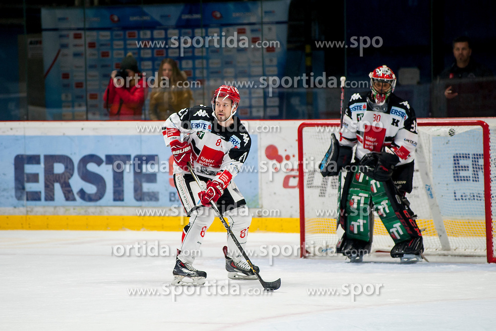 23.10.2016, Ice Rink, Znojmo, CZE, EBEL, HC Orli Znojmo vs HC TWK Innsbruck Die Haie, 13. Runde, im Bild v.l. Nicholas Ross (HC TWK Innsbruck) Andy Chiodo (HC TWK Innsbruck) // during the Erste Bank Icehockey League 13th round match between HC Orli Znojmo and HC TWK Innsbruck Die Haie at the Ice Rink in Znojmo, Czech Republic on 2016/10/23. EXPA Pictures © 2016, PhotoCredit: EXPA/ Rostislav Pfeffer