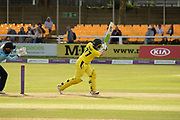 Alyssa Healy hits 4 to go to 50 during the Royal London Women's One Day International match between England Women Cricket and Australia at the Fischer County Ground, Grace Road, Leicester, United Kingdom on 2 July 2019.