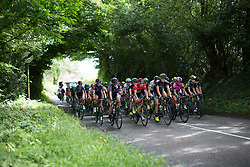 The peloton rides through the green countryside on Stage 3 of the OVO Energy Women's Tour - a 151 km road race, between Atherstone and Royal Leamington Spa on June 9, 2017, in Warwickshire, United Kingdom. (Photo by Balint Hamvas/Velofocus.com)