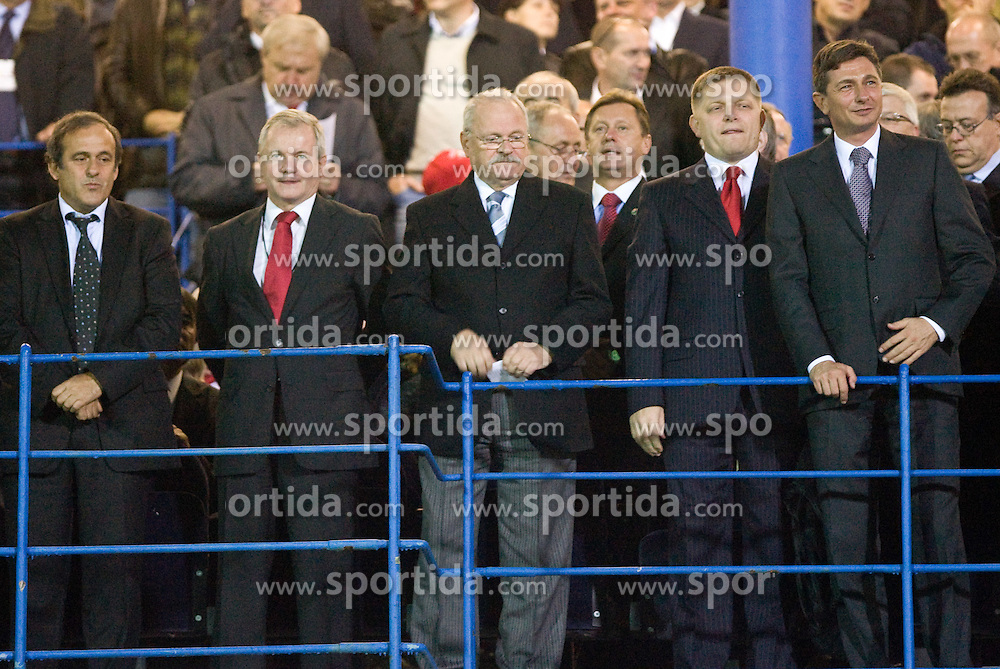 Michel Platini (L), Borut Pahor (R) at  the 2010 FIFA World Cup South Africa Qualifying match between Slovakia and Slovenia, on October 10, 2009, Tehelne Pole Stadium, Bratislava, Slovakia. Slovenia won 2:0. (Photo by Vid Ponikvar / Sportida)
