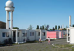 Refugee camp at Tempelhof Airport in Kreuzberg, Berlin, Germany