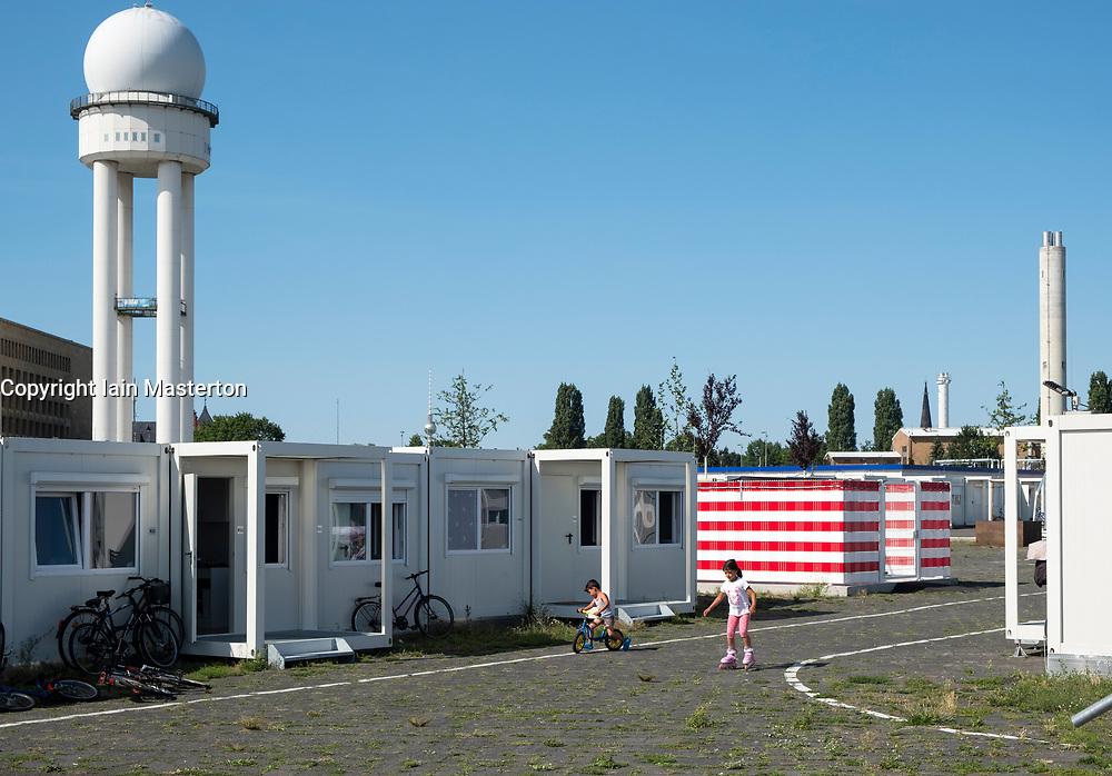 Refugee camp at Tempelhof Airport in Kreuzberg, Berlin, Germany