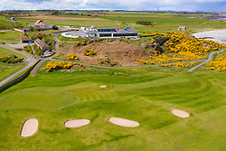 Aerial view of clubhouse at  Balcomie Links golf course at Crail Golfing Society golf course, Fife, Scotland,UK