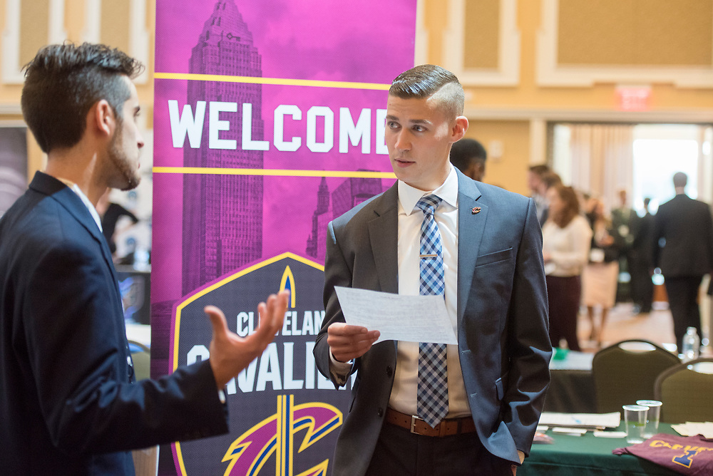 Students meet with potential employers in the sports industry. Photo by Hannah Ruhoff