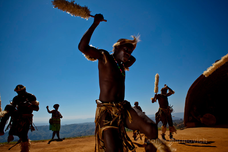 April 2009. Traditional Dancers at Phezulu Safari Park, Valley of a Thousand Hills, KwaZulu Natal. South Africa.