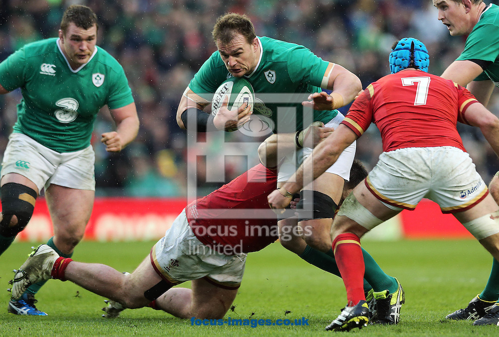 Rhys Ruddock of Ireland under pressure during the RBS 6 Nations match at the Aviva Stadium, Dublin<br /> Picture by Lorraine O'Sullivan/Focus Images Ltd +353 872341584<br /> 07/02/2016