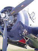 The propellor and front end of an unknown aircraft at the EAA Airventures airshow, Oshkosh, WIsconsin.