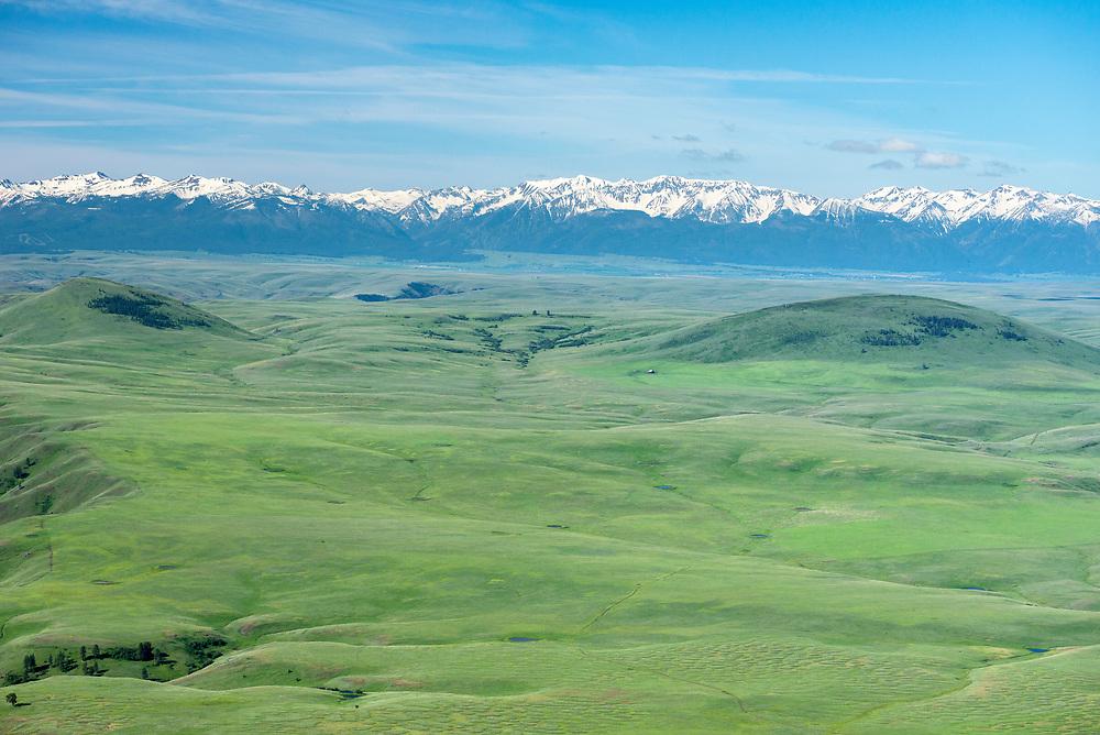 Aerial view of the Zumwalt Prairie, the Wallowa Valley and the  Wallowa Mountains, Oregon.