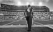 Alabama defensive back Eddie Jackson (4) stands on the sidelines on his crutches watching his teammates warm up before Alabama's 10-0 win over LSU in Tiger Stadium Saturday, November 5, 2016.  Staff Photo/Gary Cosby Jr.