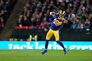 LA Rams Wide Receiver Cooper Kupp (18) catches a pass during the International Series match between Los Angeles Rams and Cincinnati Bengals at Wembley Stadium, London, England on 27 October 2019.