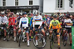 Marianne Vos (NED), Chantal Blaak (NED) and Chloe Hosking (AUS) line up on the start line at OVO Energy Women's Tour 2018 - Stage 1, a 130 km road race from Framlingham to Southwold, United Kingdom on June 13, 2018. Photo by Sean Robinson/velofocus.com