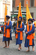 "Roma April 30 2006    .Sikh ""Punj Pyare"" (Five Beloved Ones) lead a religious parade.The parade is for Visaki, a traditional Sikh celebration.."