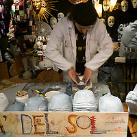 An artisan at Ca del Sol starts the preparation of a mask, Artisans, masks and costumes makers are getting ready ahead of Venice Carnival 2013