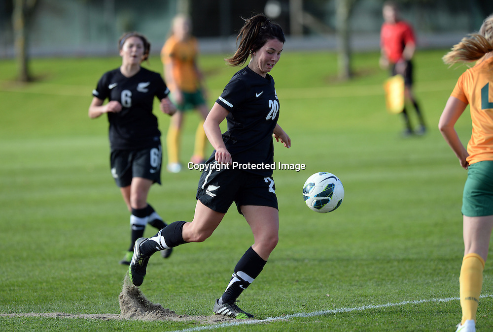 Emma Rolston in action. Junior Football Ferns v Young Matildas. Kristin School, Albany. Thursday 25 July 2013. Photo: Andrew Cornaga/Photosport.co.nz
