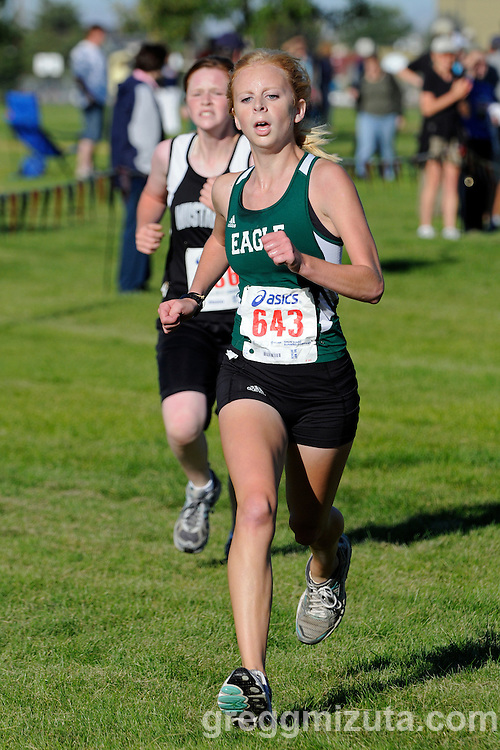 Eagle sophomore Sandy Morton during the NNU Invite junior varsity race at West Park in Nampa, ID on September 11, 2010. Morton finished in 21:34.16 to place eighth.