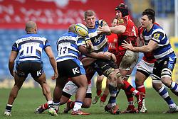 Bath's Stuart Hooper releases the ball - Photo mandatory by-line: Robbie Stephenson/JMP - Mobile: 07966 386802 - 29/03/2015 - SPORT - Rugby - Oxford - Kassam Stadium - London Welsh v Bath Rugby - Aviva Premiership