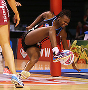 Mwai Kumwenda of the Tactix falls heavily during the ANZ Championship Netball game between the Tactix v Steel at Horncastle Arena in Christchurch. 6th April 2015 Photo: Joseph Johnson/www.photosport.co.nz