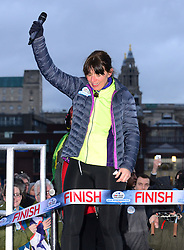 Davina McCall, British presenter takes part in photocall as she ends her Sport Relief challenge in the capital having cycled, swam and run over 500 miles from Edinburgh in seven days, in front of the Tate Modern, Southbank, London, United Kingdom. Friday, 14th February 2014. Picture by Nils Jorgensen / i-Images