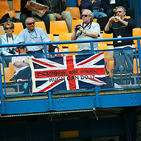 Spectators in the stands - Chamberlain Synergy supporters (Hugh Chamberlain, Team Manager of #19 Lola B06/10) LMP1, Le Mans 24Hr 2007