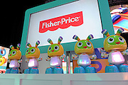 The Bright Beats BeatBo lights the stage at the New York Toy Fair, Friday, Feb. 12, 2016.  The Fisher-Price toy gets baby moving with music and lights. (Photo by Diane Bondareff/AP Images for Mattel)