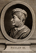 Philip III, the Bold (1245-1285) a member of the Capetian dynasty, king of France from 1270. Copperplate engraving, 1793.